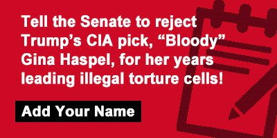 """Tell the Senate to reject Trump's CIA pick, """"Bloody"""" Gina Haspel, for her years leading illegal torture cells"""